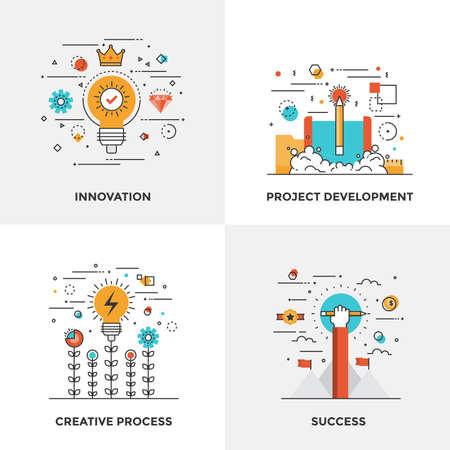 Moderne flache Farblinie entwarf Konzepte Ikonen für Innovation, Projektentwicklung, Kreativprozess und Erfolg. Kann für Webprojekt und mobile Plattformen verwendet werden. Vektor-Illustration