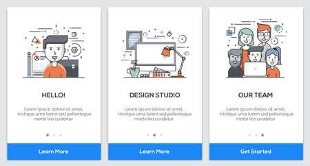 Onboarding Design Studio app Screens. Modern user interface UX, UI screen template for mobile smart phone or responsive web site. Illustration  イラスト・ベクター素材