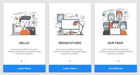 Onboarding Design Studio app Screens. Modern user interface UX, UI screen template for mobile smart phone or responsive web site. Illustration Иллюстрация