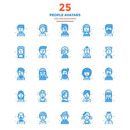 beard man: Set of Modern Flat Line icon Concept of People Avatars use in Web Project and Applications. Illustration Illustration