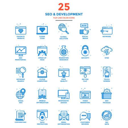 近代的なフラット ライン アイコン Seo の概念の設定、開発、管理、オンライン マーケティング、研究、分析を Web プロジェクトやアプリケーション