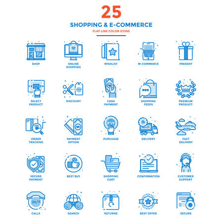 Set of Modern Flat Line icon Concept of shopping, e-commerce, m-commerce, delivery,  use in Web Project and Applications. Illustration 向量圖像