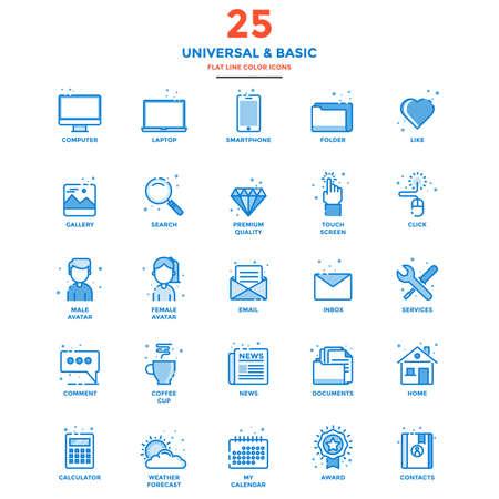 icono ordenador: Conjunto de icono moderno de la línea plana Concepto de base, universal, internet, ordenador, calculadora, documentos y Smartphone Uso en un proyecto web y aplicaciones. Ilustración