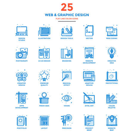 responsive design: Modern flat design icons for Web and Graphic design, Illustration, Ui Design, Development, etc. Icons for web and app design, easy to use and highly customizable.