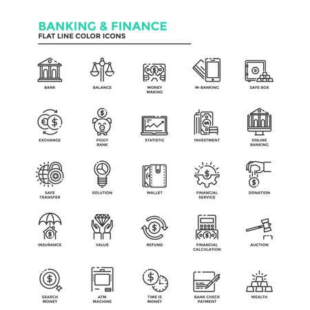 Conjunto de icono moderno de la línea plana Concepto de Banca y Finanzas, Inversión, Valor, banca en línea, etc utilizan en Project Web y Aplicaciones. Ilustración