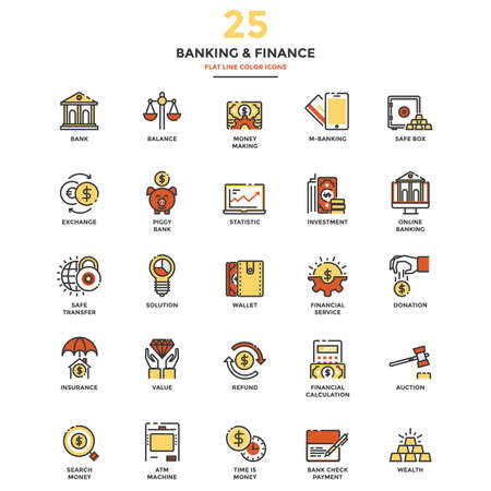 funds: Set of Modern Flat Line icon Concept of Banking and Finance, Investment, Value, Online Banking, etc. use in Web Project and Applications.  Illustration
