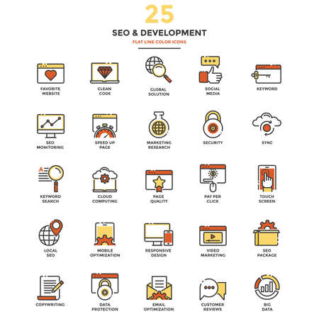 Ensemble d'icônes de ligne plate moderne Concept de référencement, développement, gestion, marketing en ligne, recherche et analyse utilisation dans des projets et applications Web. Illustration