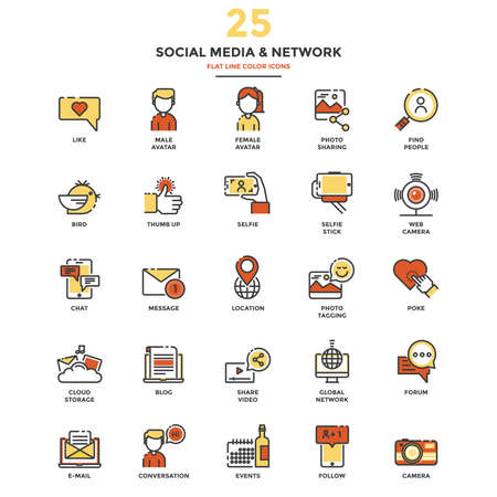 tumb: Set of Modern Flat Line icon Concept of Social Media and Network use in Web Project and Applications. Illustration Illustration