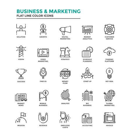 Conjunto de icono moderno de la línea plana Concepto de negocios, Puesta en marcha, Administración, Marketing Online, Investigación y Análisis utilizan en Project Web y Aplicaciones. Ilustración