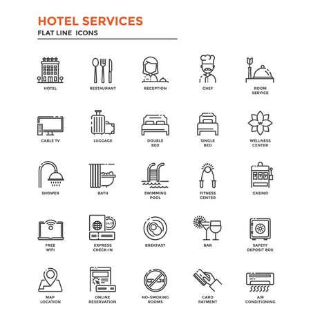 Set di Modern Flat Line icona concetto di hotel servizi utilizzano in Project Web e applicazioni. Illustrazione Vettoriali