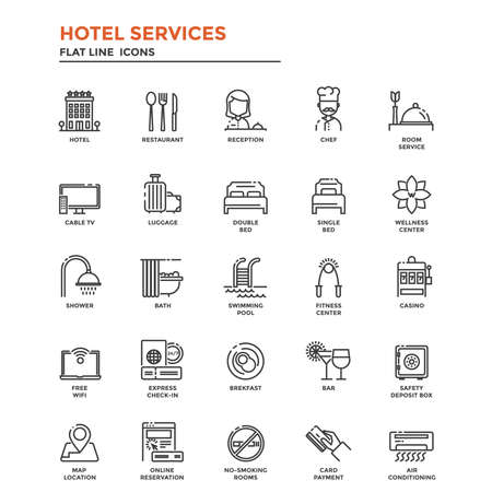 Set of Modern Flat Line icon Concept of Hotel Services use in Web Project and Applications. Illustration