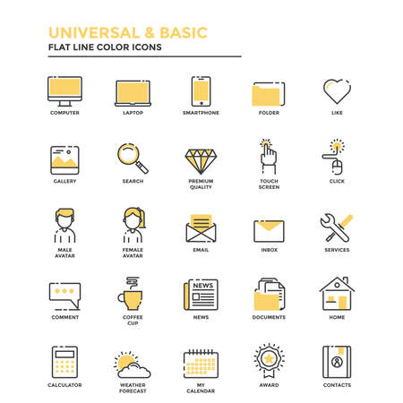 Set of Modern Flat Line icon Concept of Basic, Universal, Internet, Computer, Calculator, Documents and Smartphone use in Web Project and Applications. Illustration Vectores