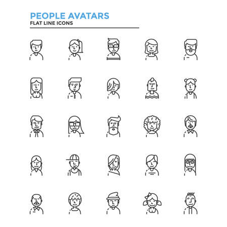 Conjunto de icono de la moderna línea plana concepto de pueblo Avatares Uso en un proyecto web y aplicaciones. Ilustración