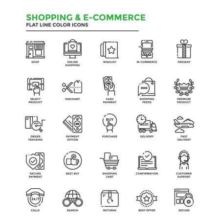 현대 평면 라인 아이콘 집합 쇼핑, 전자 상거래, 전자 상거래, 배달, 웹 프로젝트 및 응용 프로그램에서 사용의 개념. 삽화 일러스트