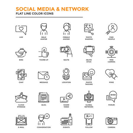 tumb: Set of Modern Flat Line icon Concept of Social Media and Network use in Web Project and Applications.  Illustration