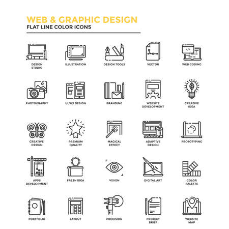 Modern flat design icons for Web and Graphic design, Illustration, Ui Design, Development, etc. Icons for web and app design, easy to use and highly customizable. Фото со стока - 64934815