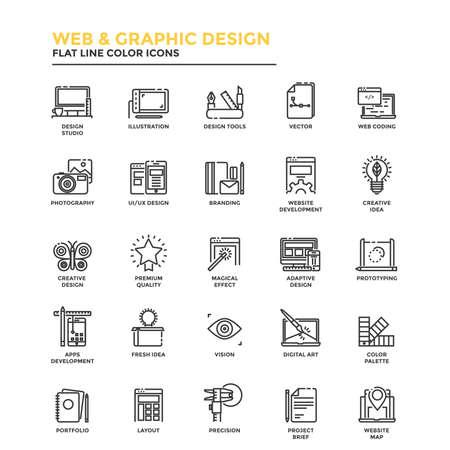 Moderne Flach Design-Ikonen für Web und Grafik-Design, Illustration, UI-Design, Entwicklung, usw. Icons für Web- und App-Design, einfach zu bedienen und sehr anpassbar. Standard-Bild - 64934815
