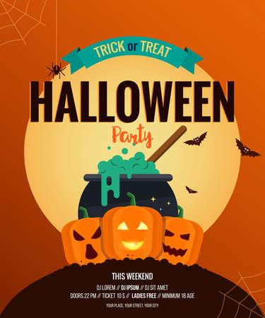 Happy Halloween Party Poster.Flat design illustration