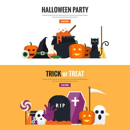 Happy halloween banners. Set of flat designed elements. Illustration Illustration