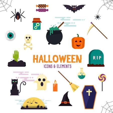 cat eye: Halloween flat icon set modern style creative design template collection. Bat spider wizard skull pumpkin cat poison grave eye gift box candle coffin.