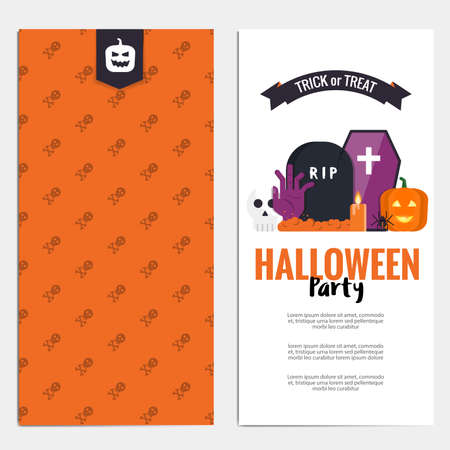 illustration invitation: Hallowen template. Scary party invitation with Halloween motives. Illustration Illustration