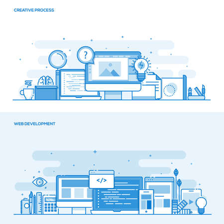 web development: Set of Flat Line Color Design Concepts for Creative Process and Web Development. Concepts web and printed materials. Illustration