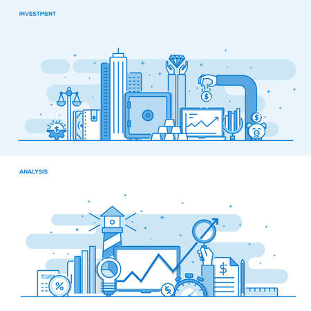 global market: Set of Flat Line Color Design Concepts for Investment and Analysis. Concepts web banner and printed materials. Illustration