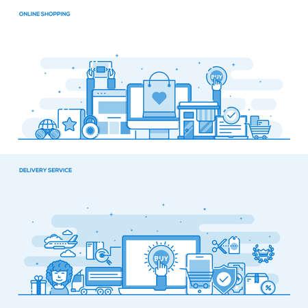 オンライン ショッピングのための平らな線色設計の概念および配信サービスのセット。概念、web バナーや印刷物。図