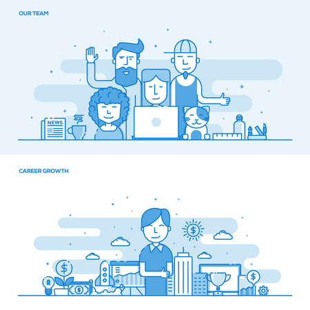 line work: Set of Flat Line Color Design Concepts for Our Team and Career Growth. Concepts web banner and printed materials. Illustration Illustration