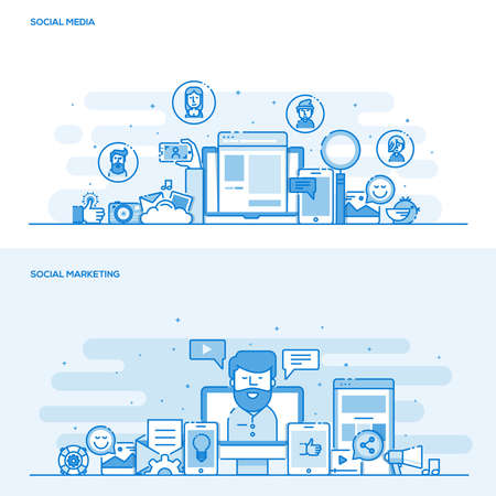 social web: Set of Flat Line Color Banners Design Concepts for Social Media and Social Marketing. Concepts web banner and printed materials. Illustration