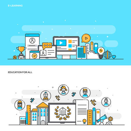 Set of Flat Line Color Banners Design Concepts for E Learning and Education for all. Concepts web banner and printed materials. Illustration Illustration