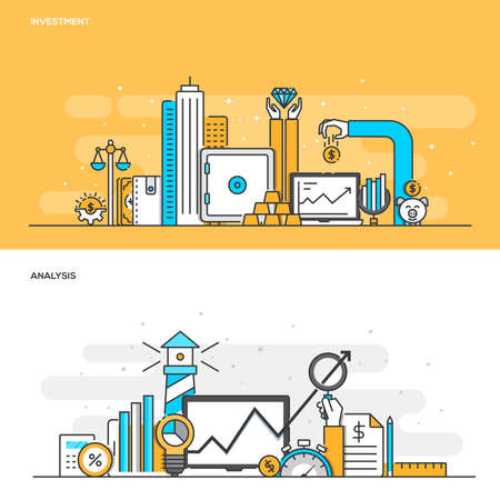 Set of Flat Line Color Banners Design Concepts for Investment and Analysis. Concepts web banner and printed materials. Illustration Illustration
