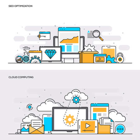 clouds: Set of Flat Line Color Banners Design Concepts for SEO Optimization and Cloud Computing. Concepts web banner and printed materials. Illustration