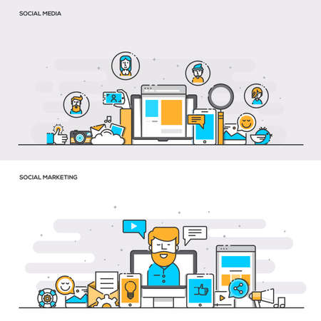 Set of Flat Line Color Banners Design Concepts for Social Media and Social Marketing. Concepts web banner and printed materials. Illustration