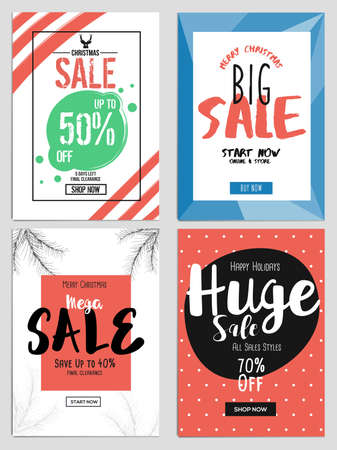 chritmas: Set of Chritmas Sale Template for websites and mobile websites. Can be used For Posters, Web Banners, promotion materials. Illustration Illustration