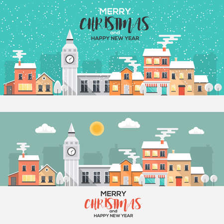 christmas winter: Flat Design Urban winter landscape. Snowy street. Christmas card Happy Holidays banner. illustration