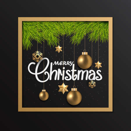 festive background: Holiday Christmas card with golden ornaments. Can be used for wallpaper, canvas print, decoration,  advertising. illustration