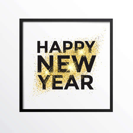 canvas print: Gold glitter New Year greeting card on white background. Gold dust background for canvas print, decoration, advertising, Headers, etc. illustration