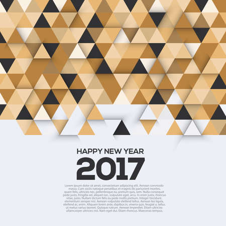 new years background: Creative geometric design for your greetings card, Happy New Year 2017. Triangles background for canvas print, decoration, advertising, Headers, etc. illustration