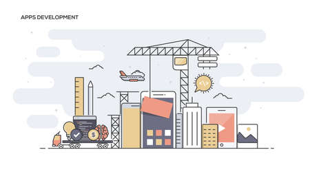 herramientas de construccion: Thin line flat design banner of Apps Development for website and mobile website, easy to use and highly customizable. Modern vector illustration concept, isolated on white background. Vectores