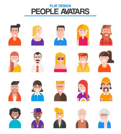 Set of stylish avatars of Male and Female. Flat design Vector Illustration