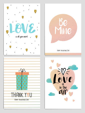 romance: Trendy Valentines Day greeting card Design Set. Holiday Themed Collection. Vector Illustration