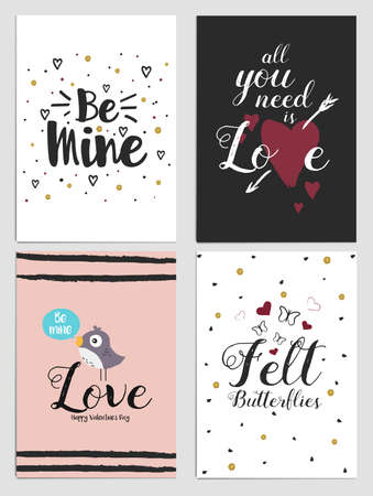happy couple: Trendy Valentines Day greeting card Design Set. Holiday Themed Collection. Vector Illustration