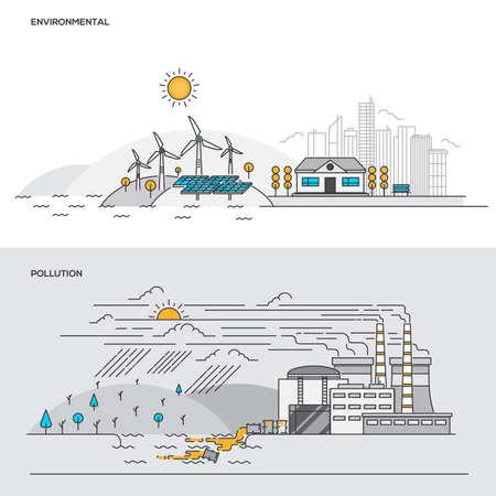 환경 및 오염에 대 한 플랫 라인 컬러 배너 디자인 개념의 집합입니다. 개념 웹 배너 및 인쇄 된 자료입니다. 벡터 일러스트 레이션