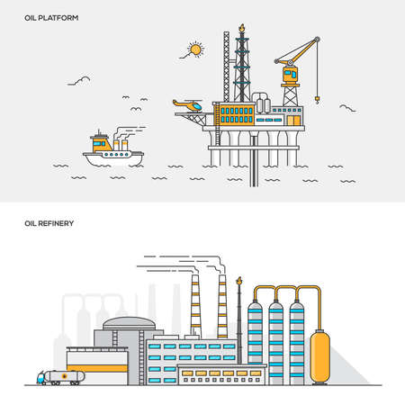 colloquially: Set of Flat Line Color Banners Design Concepts for Oil platform and Oil Refinery. Concepts web banner and printed materials. Vector Illustration