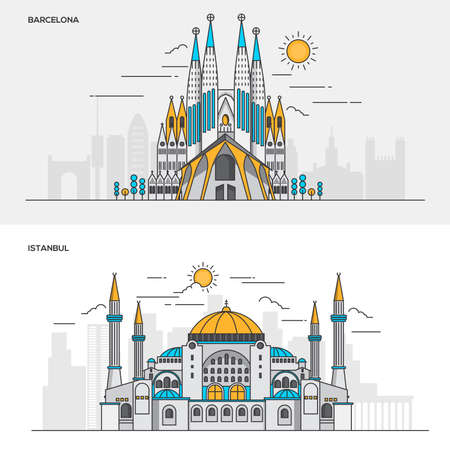 cathedrals: Set of Flat Line Color Banners Design Concepts for City of Barcelona and Istanbul. Concepts web banner and printed materials. Vector Illustration