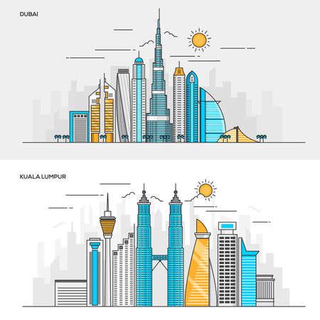 Ensemble de concepts de conception de bannières couleur à ligne plate pour la ville de Dubaï et Kuala Lumpur. Concepts de la bannière web et des documents imprimés. Illustration Vecteur