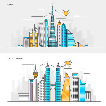 kuala lumpur tower: Set of Flat Line Color Banners Design Concepts for City of Dubai and Kuala Lumpur. Concepts web banner and printed materials. Vector Illustration