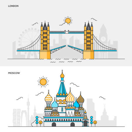 moscow city: Set of Flat Line Color Banners Design Concepts for City of London and Moscow. Concepts web banner and printed materials. Vector Illustration Illustration