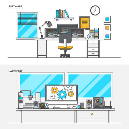 Set of Flat Line Color Banners Design Concepts for Software and Hardware. Concepts web banner and printed materials. Vector Illustration Illustration
